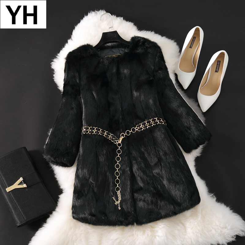 2018 New Hot Lady Real Rabbit Fur Coat Long Style Genuine Real Rabbit Fur Jacket Full