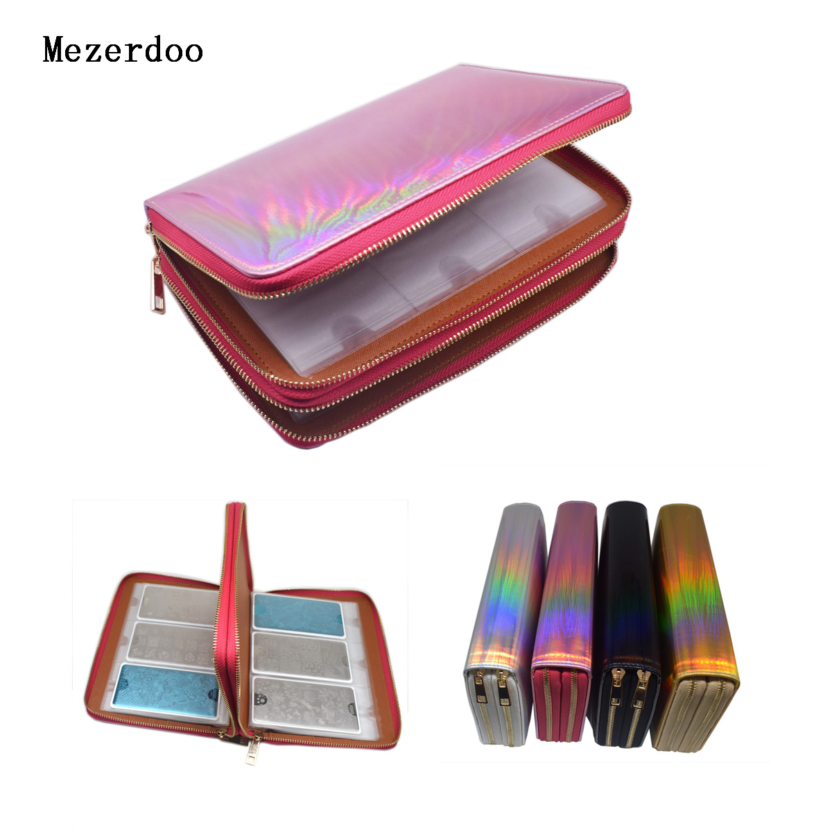 96 Slots Plus Size Nail Art Stamping Plate Holder Laser Rainbow Nail Stamp Polish Rectangle Double Zipper Template Case Bags 10pcs nail art stamping printing skull style stainless steel stamp for diy manicure template stencils jh461 10pcs
