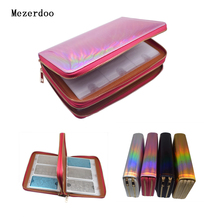 96 Slots Plus Size Nail Art Stamping Plate Holder Laser Rainbow Stamp Polish Rectangle Double Zipper Template Case Bags