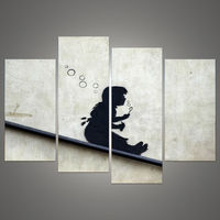 New Modular Pictures 4 Pcs Set Banksy Art Blowing Bubbles On The Roof Modern Canvas Modular