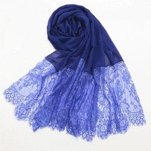 Image 2 - Podwójne krawędzi koronki kwiatowy szyfonu Maxi hidżab muzułmańska chusta pani zwykły szal Warps szalik na głowę emiraty kobiet Turba osłona na szyję