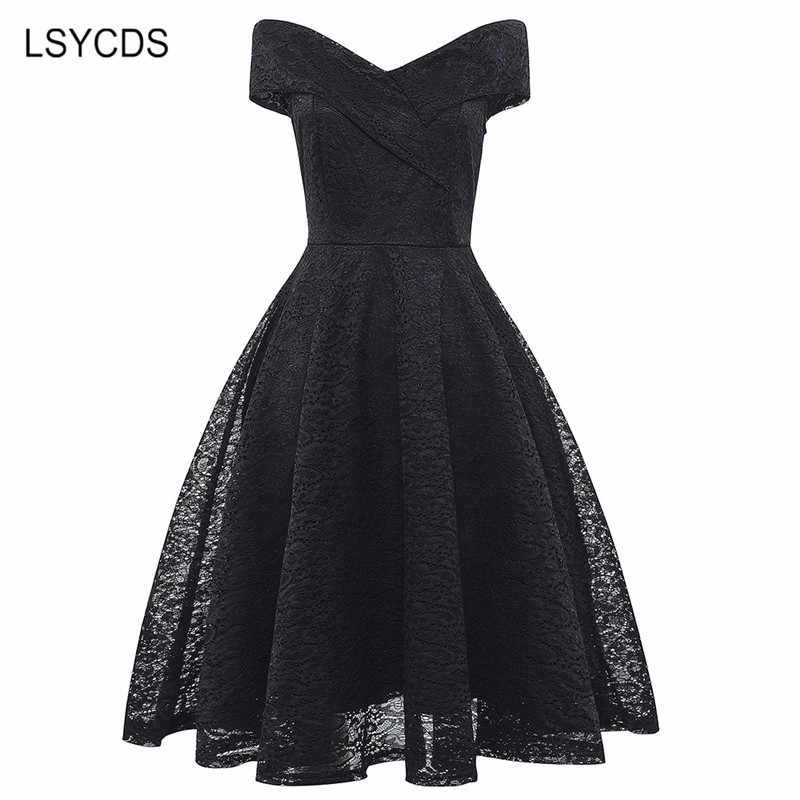 LSYCDS Sexy Summer Party V-Neck Dress A-line Short Sleeve Robe Vintage Retro Casual Party Rockabilly Black 50s Lace Women Dress