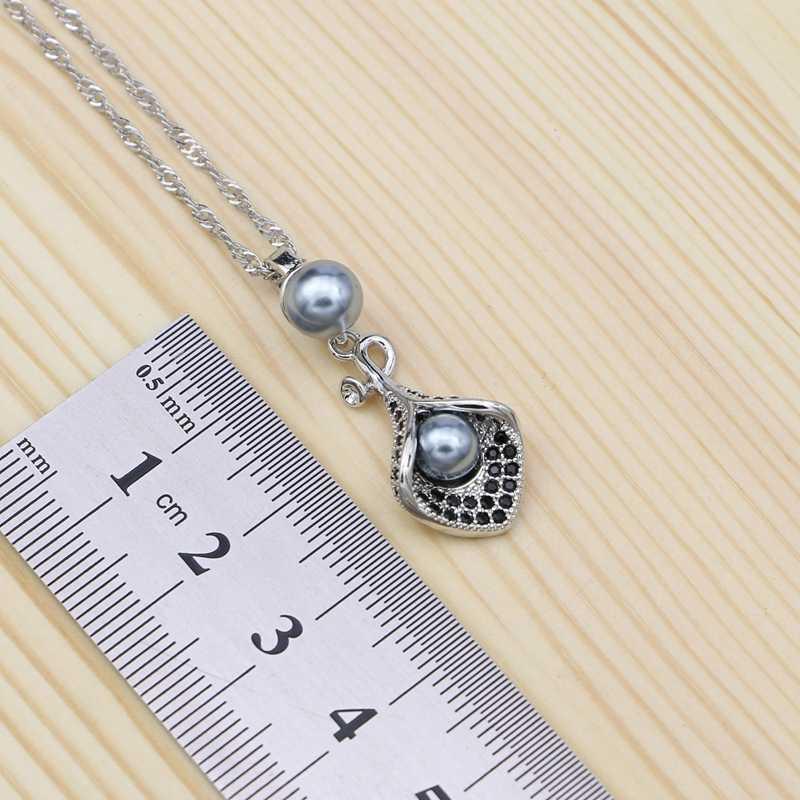มุกสีเทา 925 เงินชุดเครื่องประดับ Black Cubic Zirconia สำหรับผู้หญิง Party Horn รูปร่าง Drop ต่างหูแหวนสร้อยคอจี้ชุด