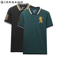 Giordano стрейчевая slim fit футболка Polo с короткими рукавами и принтом всадника на груди, выполнена из хлопка и спандекса,имеется несколько цветов...