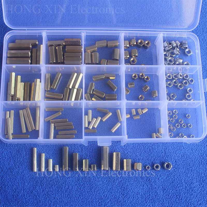 180Pcs/Set M2/M3/M4mm Female Female Brass Standoff Spacer Board Hex Nuts Assortment standoff Set Box Hexagonal Stud Spacer m2 3 3 1pcs brass standoff 3mm spacer standard male female brass standoffs metric thread column high quality 1 piece sale