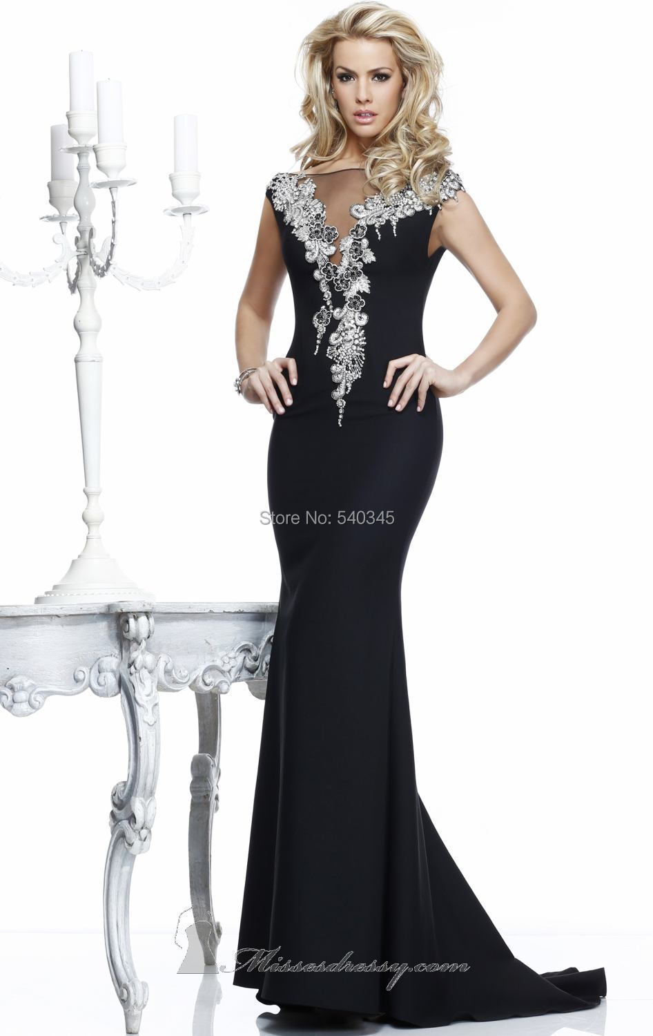 Boat Neck Mermaid Black   Evening     Dresses   Crystal Beading Sequined Backless Chiffon Floor-Length Long Prom Party Gowns 2014 E61