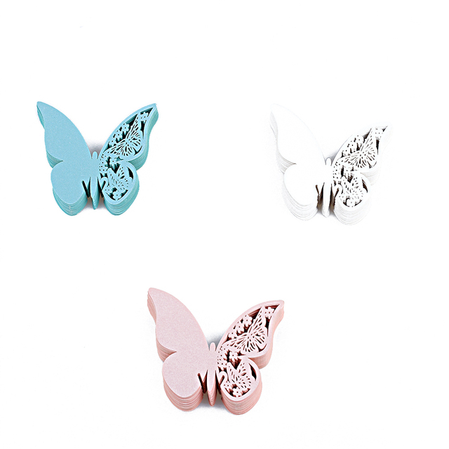 50Pcs/Pack Table Mark Wine Glass Table Mark Butterfly Pattern Name Place  Cards Party Wedding