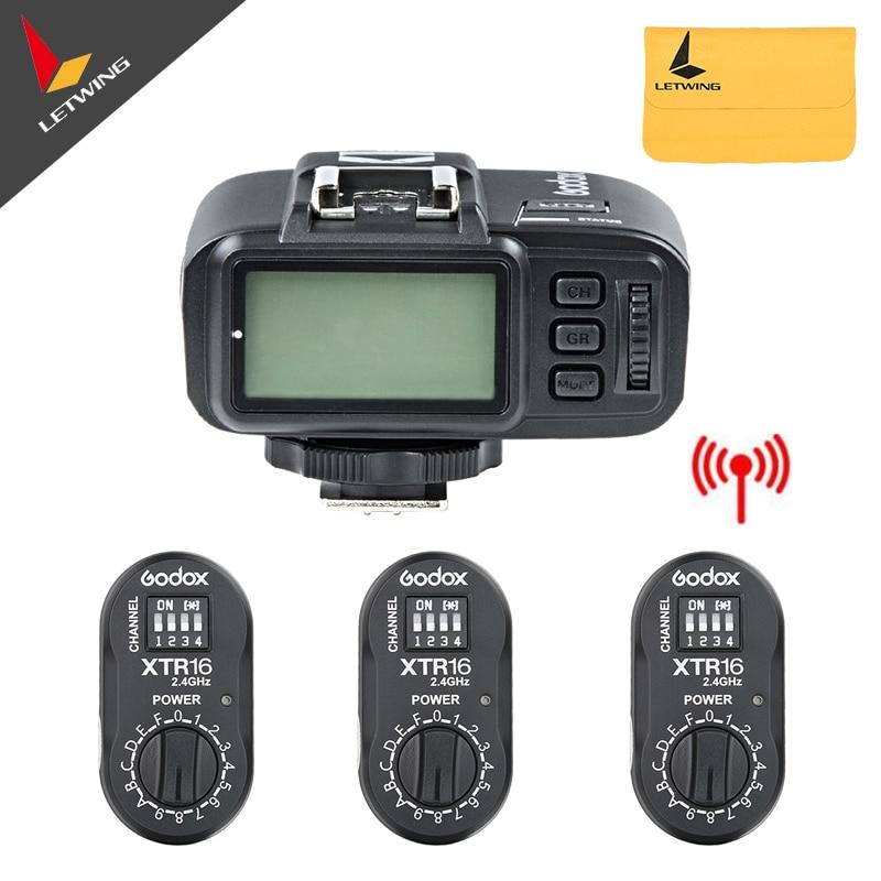 3x Godox XTR-16 Wireless 2.4G Power Controller Flash Receivers + X1T-N TTL Wireless Transmitter for AD180 AD360 godox x1t c 2 4g ttl wireless transmitter xtr 16 wireless 2 4g power control flash receivers for canon ad180 ad360 sk300 de300