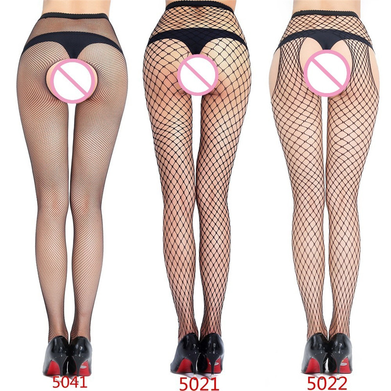 Hot Sexy Women's Fishnet Tights Open Crotch Mesh Pantyhose Plus Size Lingerie Sexy Crotchless Nylon Stockings Collant Hosiery