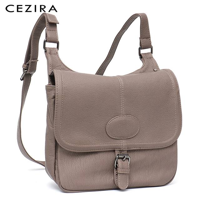 CEZIRA Fashion Shoulder Bags for Women Small Vegan Wash Leather Flap Bag Girl Flap Cover Buckle Casual Messenger Bag Lady Bags