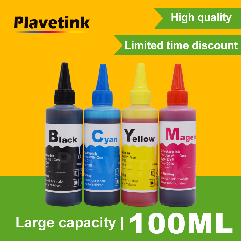 Plavetink 100ml Bottle Printer Dye Ink <font><b>Refill</b></font> <font><b>Kit</b></font> 4 Color For <font><b>HP</b></font> 932 <font><b>933</b></font> XL Officejet 7110 7610 6600 6700 6100 7612 Cartridges image