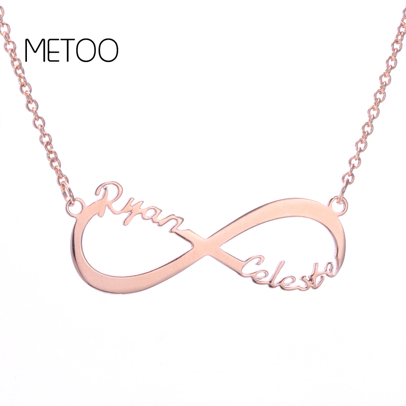 METOO Lucky Infinity Pendant Necklace Custom Jewelry Two Name Couple Women Necklaces 3 Colors Number Eight Geometric Necklace in Pendant Necklaces from Jewelry Accessories