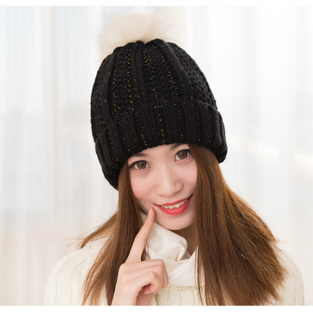 BONJEAN women Knitted hat Crochet the hundreds Brand women winter The Ball  ski rabbit fur hat pom poms knitted hats made of 0147c9dcf0d