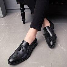 Hommes gland chaussures mode décontracté sans lacet clouté Rivet mocassins robe mâle richelieu fête désherbage décontracté grande taille 48 L4