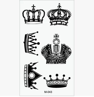 Corona Impermeables Pegatinas De Tatuaje Temporal Para Hombres