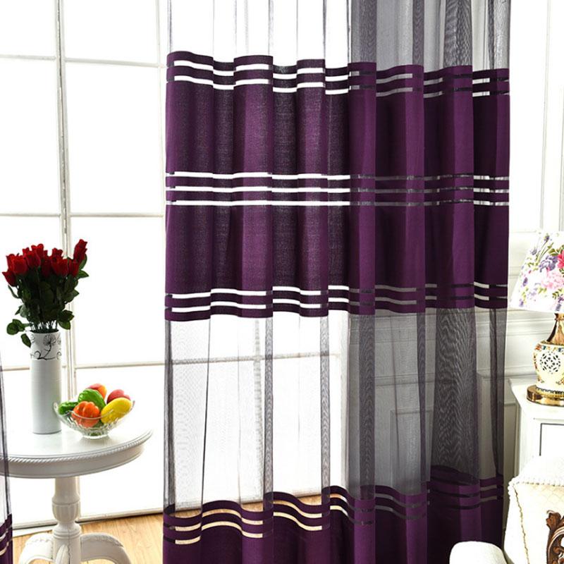 Purple Sheer Striped Curtain For Living Room Bedroom Short