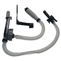 4 AA Battery Powered Fuel Transfer Pump w/ Flexible Intake Hose and No spill Auto Stop Nozzle Attachable to Gas Cans & More
