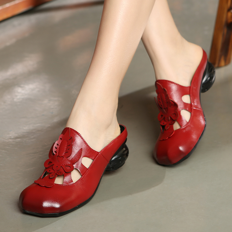 ФОТО Fashion folk style leather women sandals slippers leisure shoes cool slippers mid-elderly female sandals red black brown