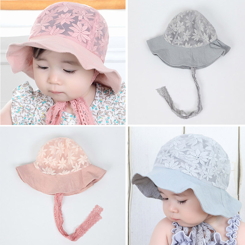 Toddler Visor Flower Lace Baby Bucket Hats Girl Sun Cap Bonnet Beanie Cotton