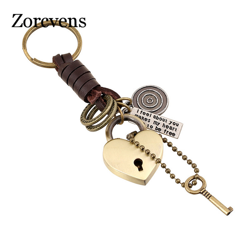 ZORCVENS 2019 New Brand Genuine Leather Punk Rock Vintage Heart Shaped Lock And Key Key Chains