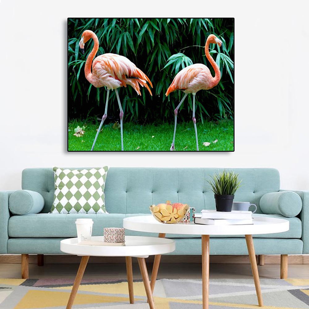 Laeacco Canvas Painting Calligraphy Tropical Flamingos Green Trees Wall Art Pictures For Living Room Kids Room Home Decoration in Painting Calligraphy from Home Garden