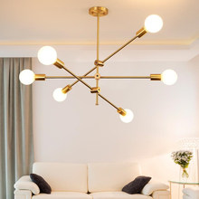 Nordic wrought iron chandelier postmodern electroplating gold bronze geometric line pendant lamp bedroom dining room suspension(China)