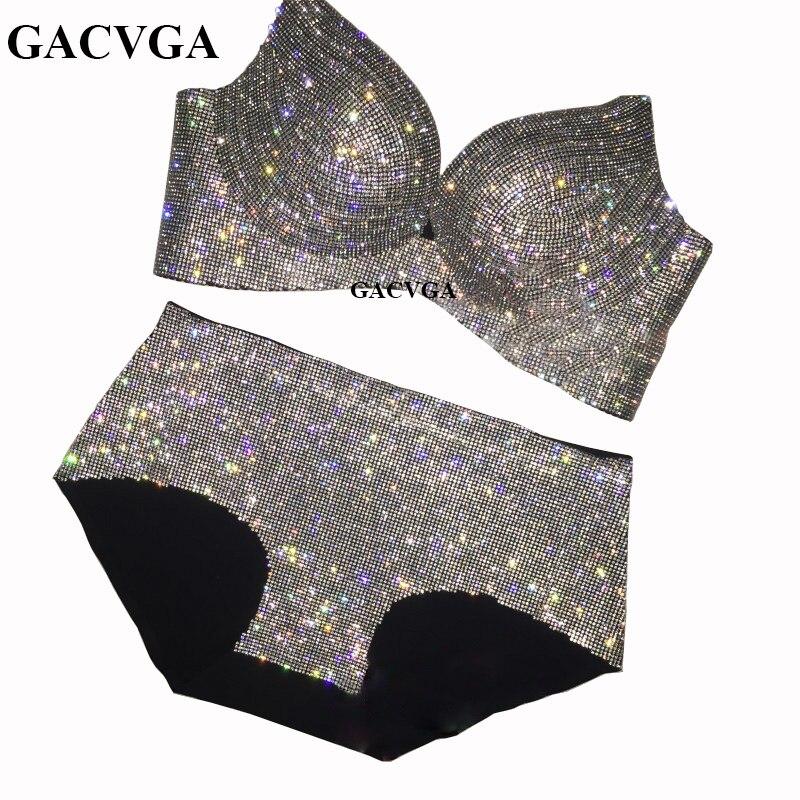 GACVGA 2019 cristal Mesh été femmes haut court brillant débardeur dos nu gilet Sexy soutien-gorge plage maillot de bain dames buste chaîne