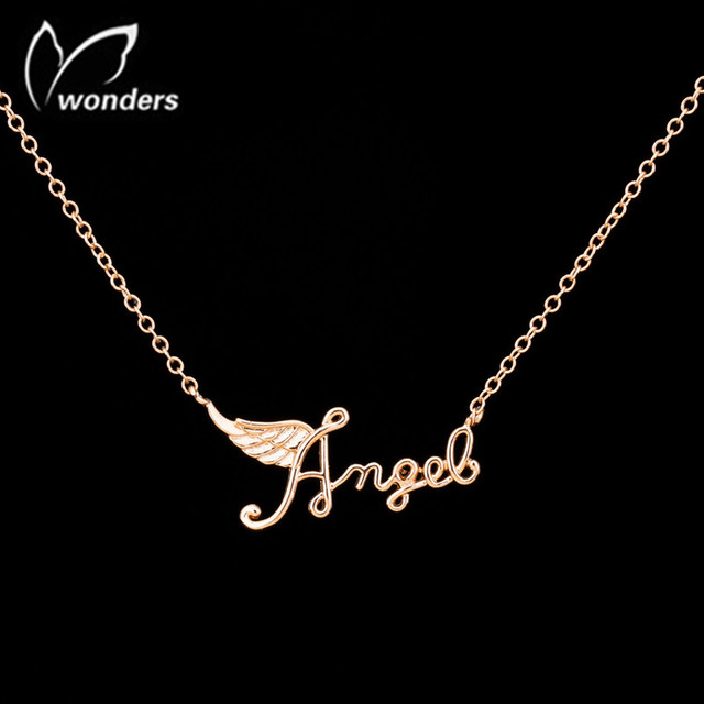 Unique Wing Angel Letter Necklace Birthday Gift To Little Girls Mother And Daughter Necklaces Pendants Alloy Fashion Jewelry