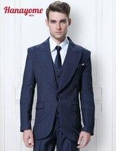 Plaid Men Suit 3pcs Set Men's Regular Fit Striped Blazer Tuxedo Vest & Trousers Stripe Suit Male Long Sleeved Suit & Pant D304