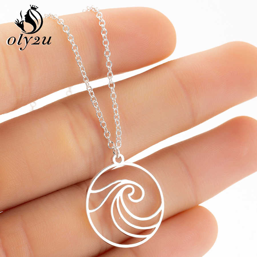 Oly2u Ocean Wave Pendant Necklaces for Women Surf Sea Necklace Fashion Jewelry Link Chain Circle Choker Weeding Gift