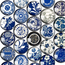 ZEROUP Round Glass Cabochon 12mm 20mm Blue and White Porcelain Pictures Dome Embellishment Base Supplies for Jewelry Finding