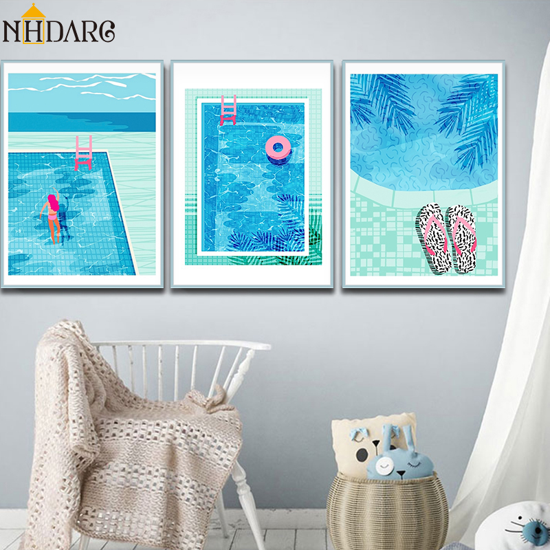 US $4.5 40% OFF|Nordic Modern And Fresh Summer Swimming Pool Decoration  Canvas Print Painting Poster Art Wall Picture Living Room Home Decor-in ...