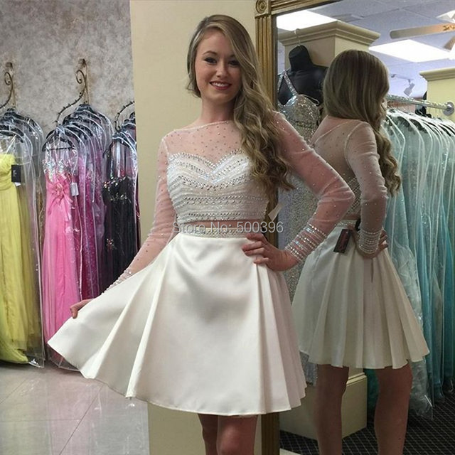 81fc307533c Pleated Ivory Satin Short Party Dresses 2016 Sheer Long Sleeves Beading Two  Piece Homecoming Dresses Mini Formal Gowns vestidos
