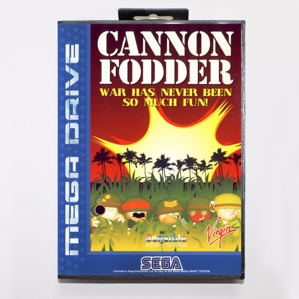 Cannon Fodder Game Cartridge 16 bit MD Game Card With Retail Box For Sega Mega Drive For Genesis