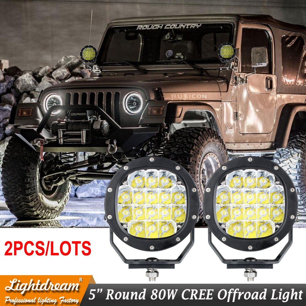 Led spot lights 4x4 offroad led work lights 80W Round narrow beam Good night lights x2pcs free shipping image