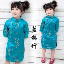 Tang suit cheongsam girls dress for 2-12 years old baby clothes dresses kids 2018 summer classic style princess cotton cheap new