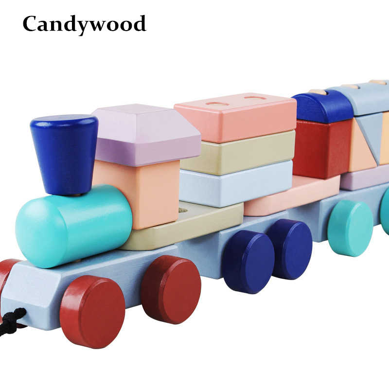 Baby Toys Cars Kids Trailer Wooden Train Vehicle Blocks Geometry/Colour Congnitive Blocks Children Educational Toys Boys