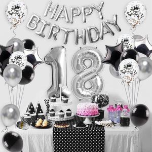Image 2 - Sapatos de prata 18 balões para decoração, balões de metal para decoração de festas de aniversário adulto e festa de feliz aniversário 40 peças
