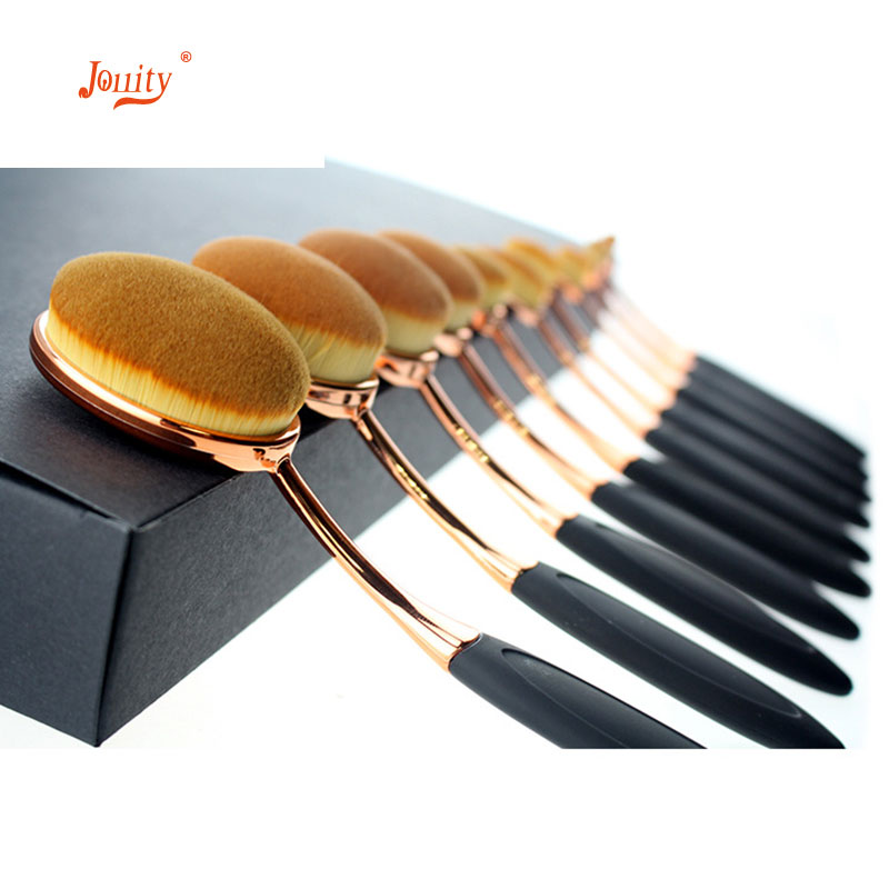 jollity 10pcs Makeup Brushes Set Toothbrush Shaped Oval Gold Colors Make Up Brushes Set Soft Foundation Powder Eyeliner Brushs in Eye Shadow Applicator from Beauty Health