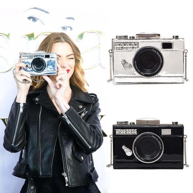 Personalized fashion vintage camera design unique shape clutch shoulder bag ladies casual mini messenger bag purse wallet flap