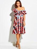 New Dress Đảng In Màu Đỏ Sọc Ruffles A Line Midi váy Cô Gái Mùa Hè Phong Cách Thời Trang Phụ Nữ Sexy Bãi Biển Kỳ Nghỉ Ăn Mặc nút