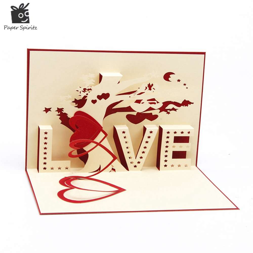 Heart Tree Laser Cut Origami Paper 3d Pop Up Cards With Love