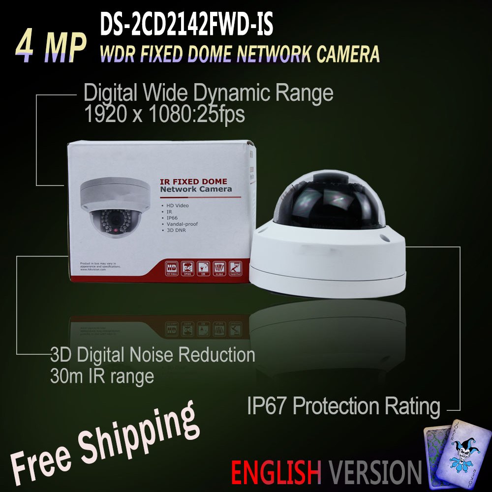 Free Shipping In Stock Hikvision DS-2CD2142FWD-IS English Version 4MP IP Dome Camera POE Audio Alarm IO Replace DS-2CD2142WD-IS free shipping in stock new arrival english version ds 2cd2142fwd iws 4mp wdr fixed dome with wifi network camera