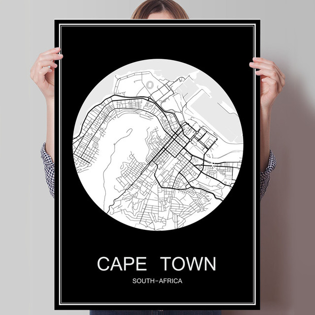 Cape town south africa world city map print poster print on paper or cape town south africa world city map print poster print on paper or canvas wall sticker gumiabroncs Choice Image
