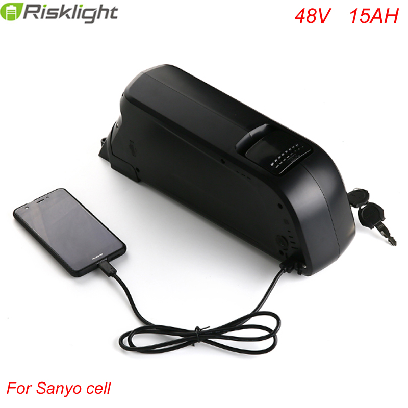 US EU AU Free Tax 13S4P Sanyo 48V 15Ah dolphin Ebike Battery with 2A charger for 48V 1000W 8fun hub motor Bafang mid motor 2017 top fashion ebike kit bafang 36v250w front geared direct motor for ebike brushless hub motor 8fun electric wheel