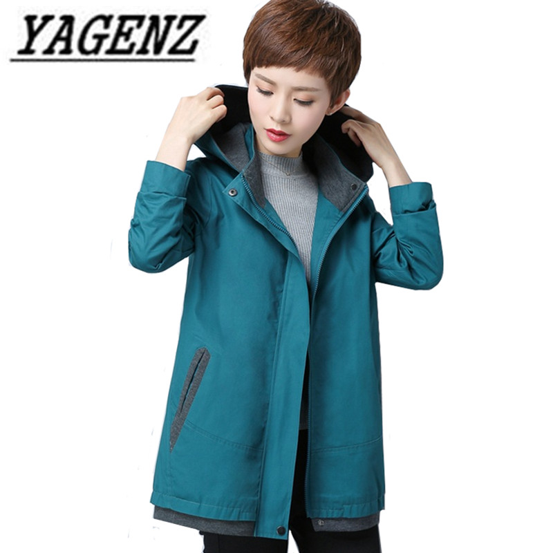 Oversized Women Windbreaker 2018 Fashion Loose Long sleeve Removable Hooded Cotton Outerwear Casual Ladies   Trench   Coat M-5XL 6XL