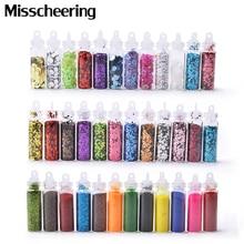 Polvo de purpurina para uñas, 12 colores brillantes, conjunto de lentejuelas para uñas ultrafinas, copos acrílicos huecos 3d para decoraciones de manicura de Diseño de uñas DIY