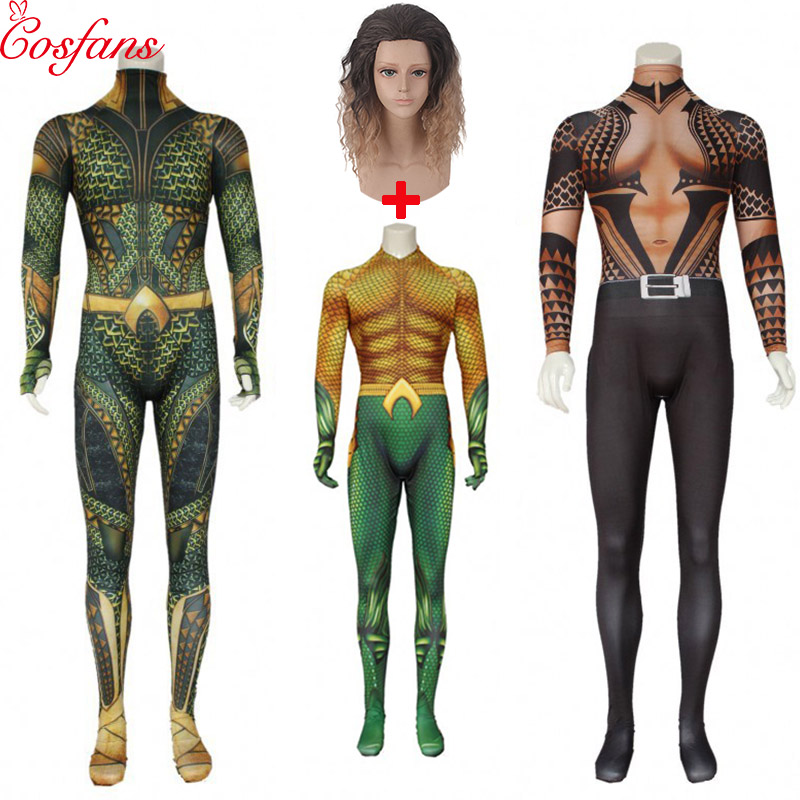 Anime Movie Justice League Aquaman Cosplay Costume Arthur Curry Orin Halloween Party Costumes Zentai Jumpsuit For Men Adult Wigs