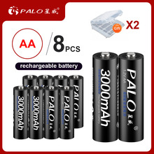 PALO 8Pcs 100% Original 1.2V AA batteries 3000mAh Ni-MH 2a 2A Rechargeble Battery For camera toy Flashlight