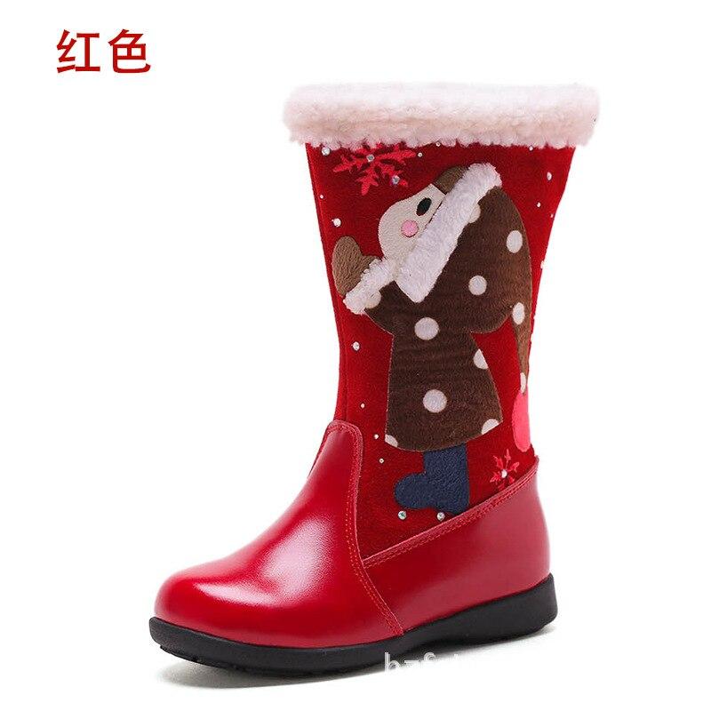Bottes en cuir de haute qualité pour enfants du père noël, chaussures de bébé confortables antidérapantes super chaudes bottes de fille - 2